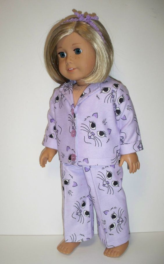 Cute Cat Face Pajamas  American Girl Doll Clothes by Dearmissfit, $18.00