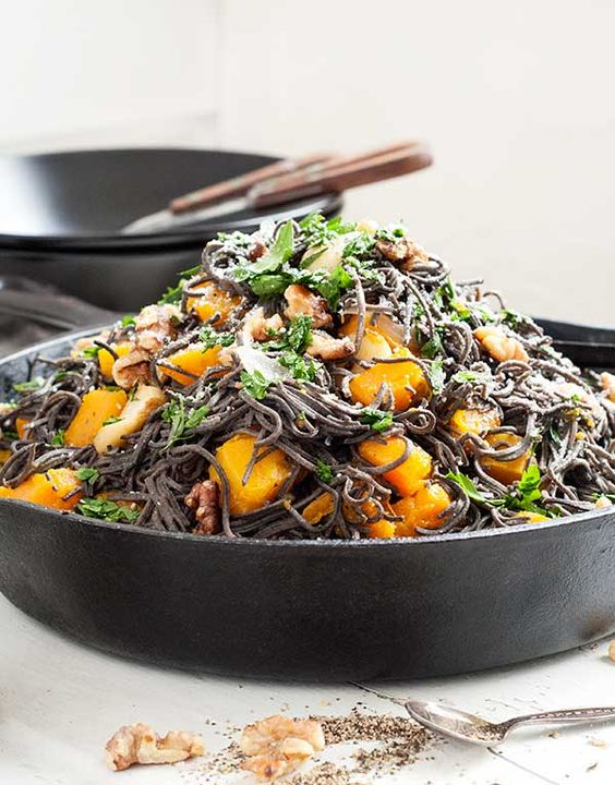 Black bean spaghetti, Roasted butternut and Roasted butternut squash ...