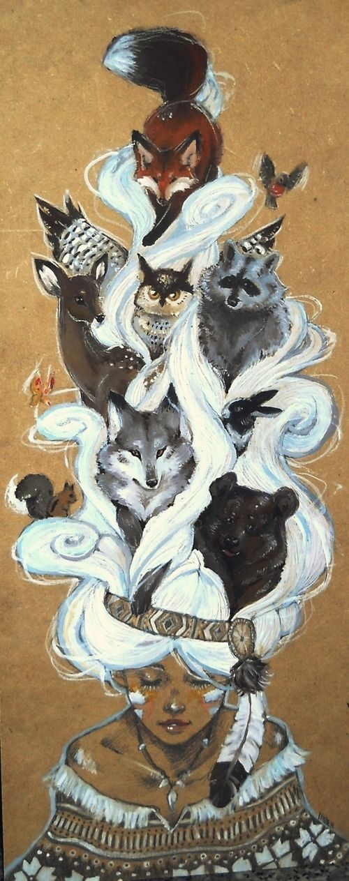 Dibuix d'una noia índia i els esperits dels animals tótem.