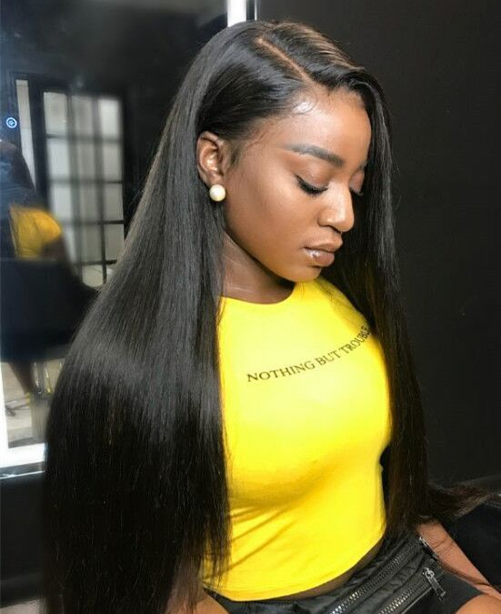 Straight Hair Side Part Style For Summer Brazilian Lace Front Wigs Straight Hairstyles Brazilian Straight Hair