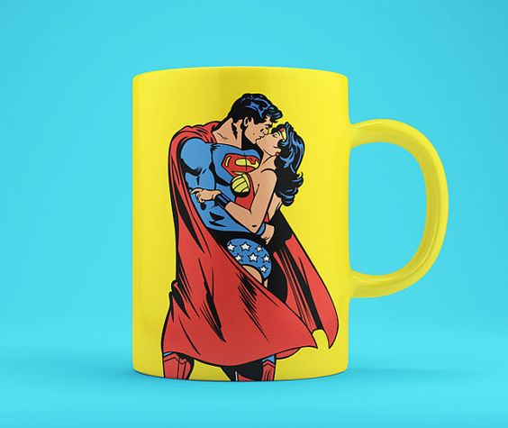 True Love: Superman and Wonder Woman Kissing - Customizable Comic Book Illustration, High Quality Poster and Wall Art
