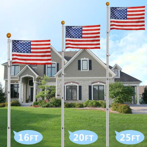 6ft Aluminum Flag Pole Heavy Duty Tangle Free Spinning Adjustable Wall Mount Kit Flag Pole Pole Tops Pole