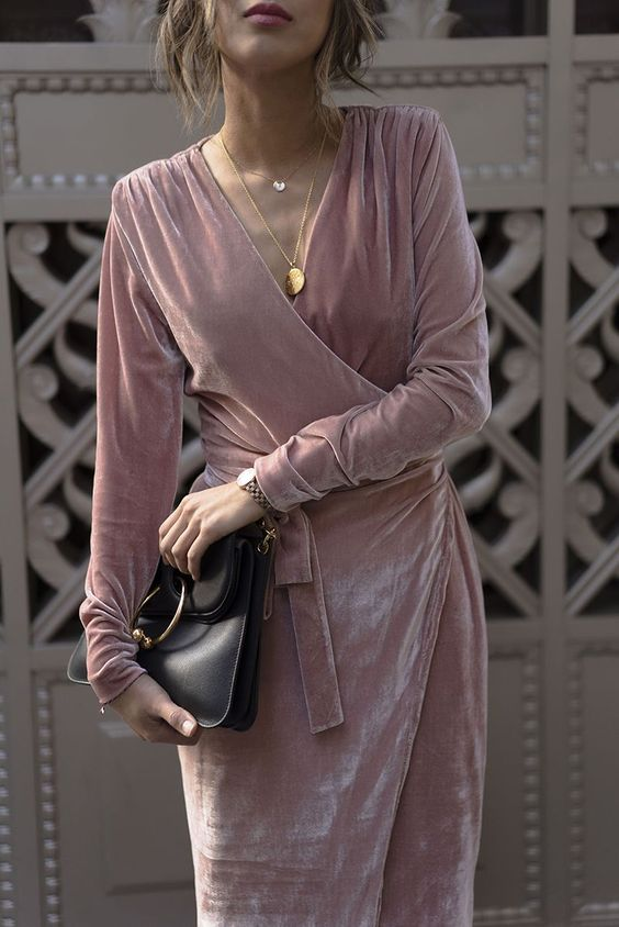 Holiday party dress inspo found with this pink velvet wrap dress worn on Aimee Song: