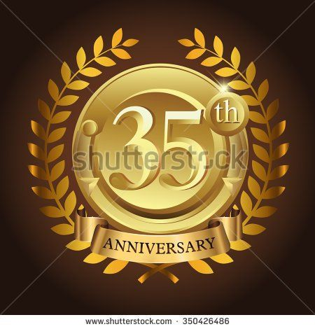 35th golden anniversary wreath ribbon logo - stock vector
