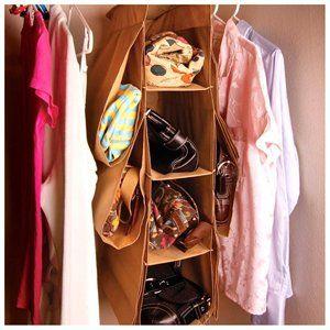 Closet Hanging 10 Pocket Purse Handbag Storage Holder Large Case Organizer Brown 3 of 4