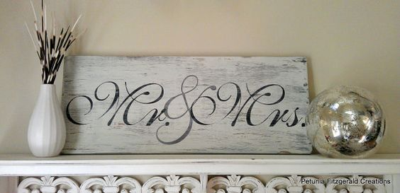 8x20 Mr & Mrs Painted Wedding Sign by petuniafitzgerald on Etsy, $30.00