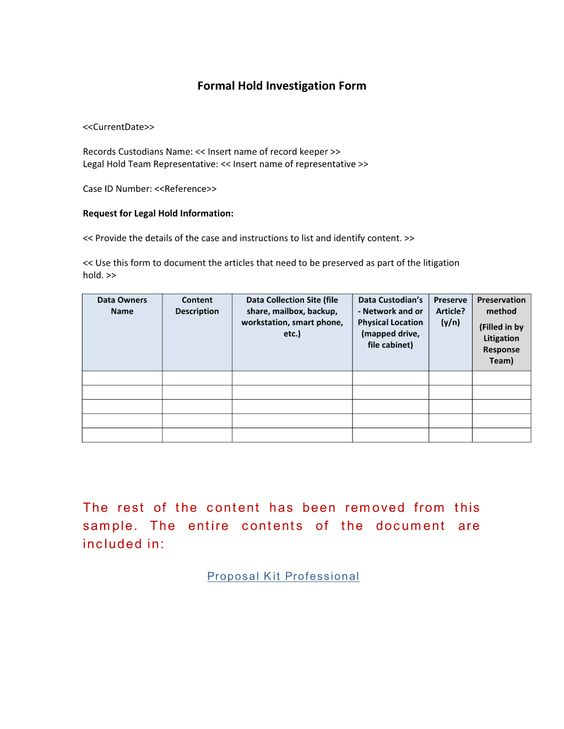 Formal Record Hold Investigation Form - Use the Formal Record Hold - formal project proposal template