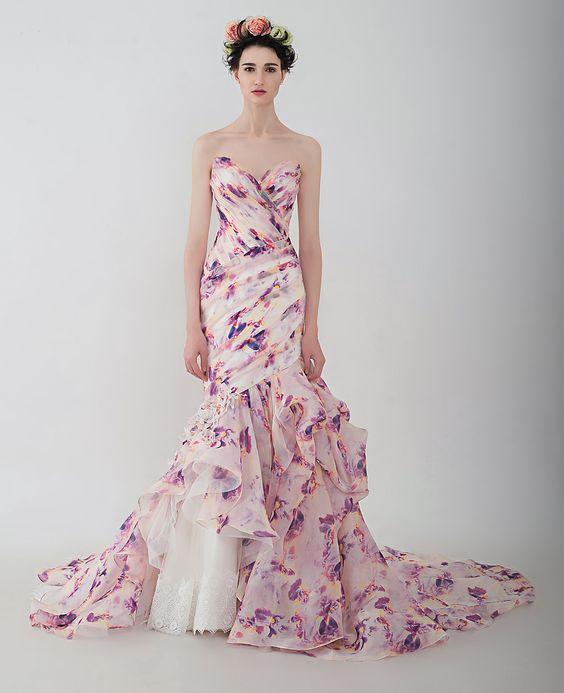 "Anny Lin Bridal ""Vasanti"" silk organza mermaid with handcrafted flowers embellishment. :"