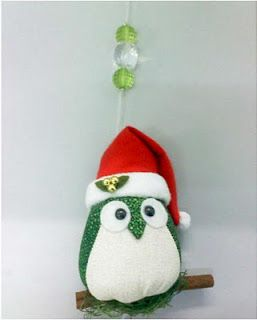 Blog Claudia Tenório: Corujinhas natalinas - enfeite de natal bem original! =)