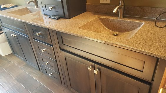 Bertch oasis cultured marble countertops in walnut toffee - Faux marble bathroom countertops ...