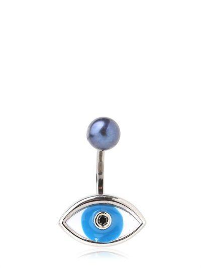 Shop now: Delfina Delettrez Blue Eye & Pearl Mono Earring
