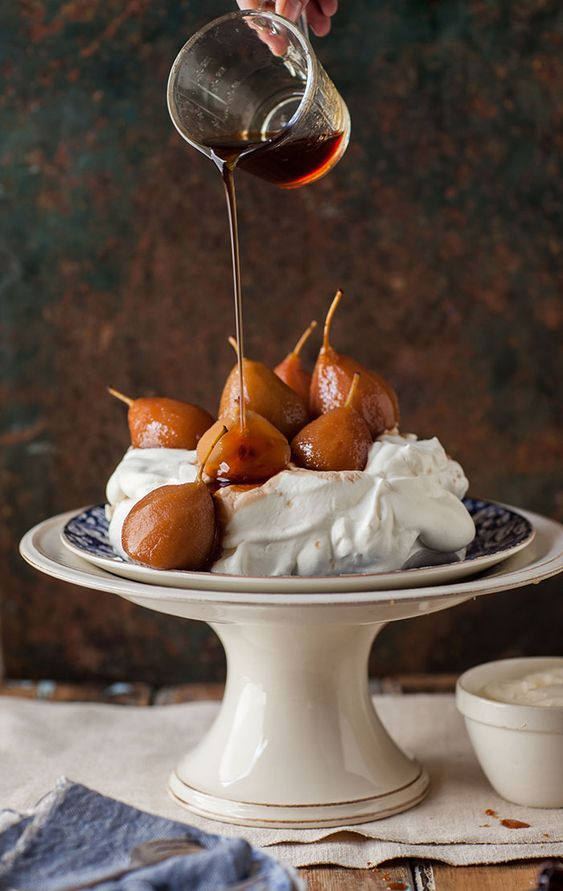 ... poached pears 6 – 8 small pears, peeled 1 bottle red muscadel 1 cup