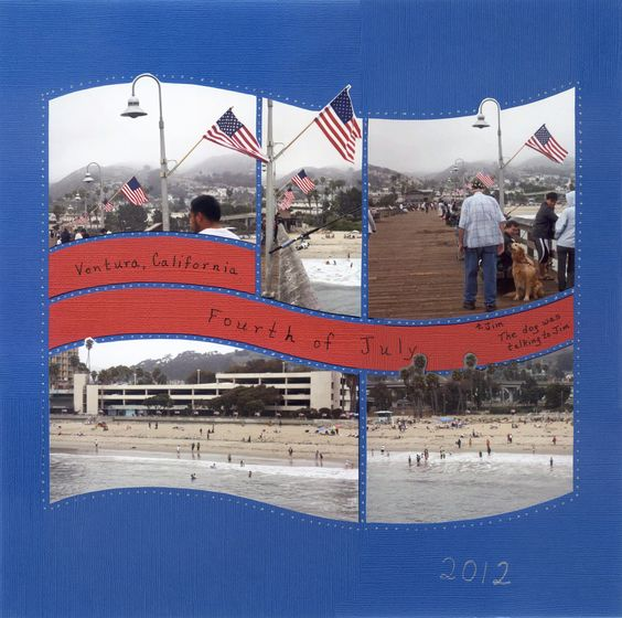 Photo Collage created by Alice, Lea France Designer using American Flag Stencil. #Photos #Collage #Designs #Stencils #PhotoCollage #Art #Scrapbook #California #4thOfJuly #Flag