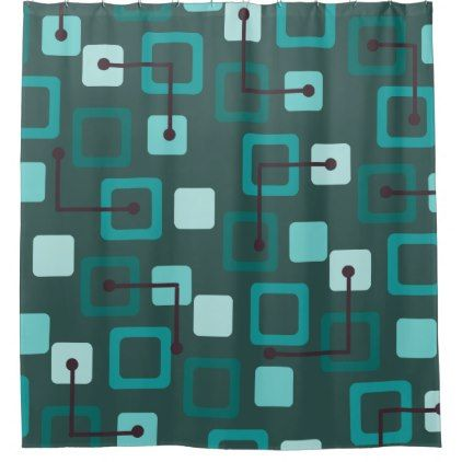 Midcentury 1950s Tiles Squares Teal Shower Curtain Zazzle Com