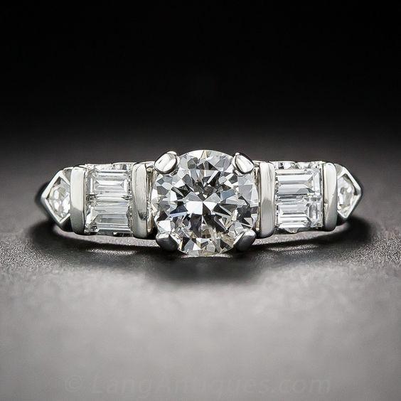 .65 Carat Platinum and Diamond Estate Engagement Ring - Lang Antiques
