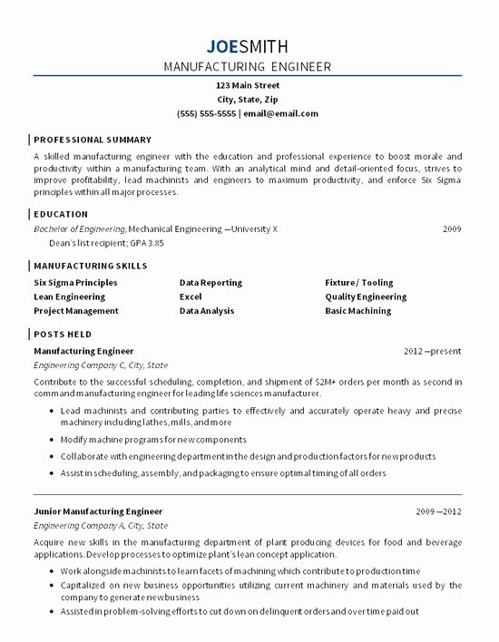 Mechanical Engineering Resume Objective Inspirational Manufacturing Engineer Resume Exa In 2020 Manufacturing Engineering Engineering Resume Mechanical Engineer Resume