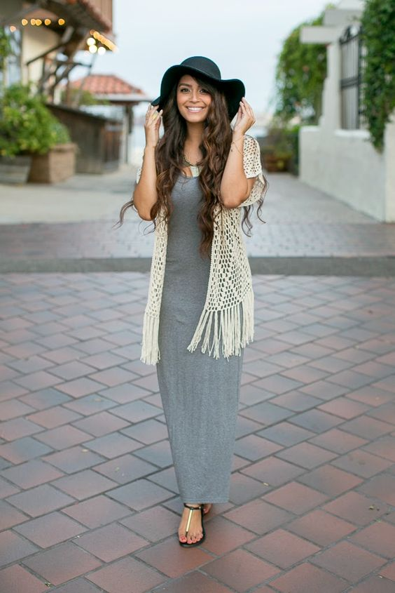 Vanessa Balli: Grey Maxi and Fringe Vest Boho Chic
