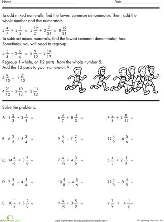 math worksheet : adding and subtracting mixed numbers  worksheets numbers and  : Adding And Subtracting Unlike Denominators Worksheet