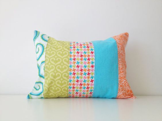 Patchwork Pillow Cover, Lumbar Pillow, 12x16 Inches, Green, Orange, Blue, Colorful, Nursery, Living Room, Girls