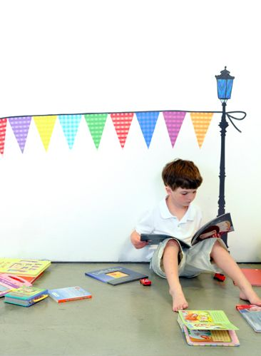 Oversize Wall Decals. Pennant Garland + Streetlights. By Pop & Lolli.