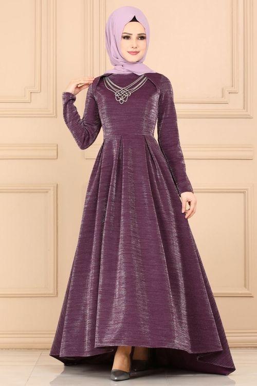 Modaselvim Abiye Kolye Detay Simli Abiye 4016ay342 Mor The Dress Elbiseler Moda Kiyafetler
