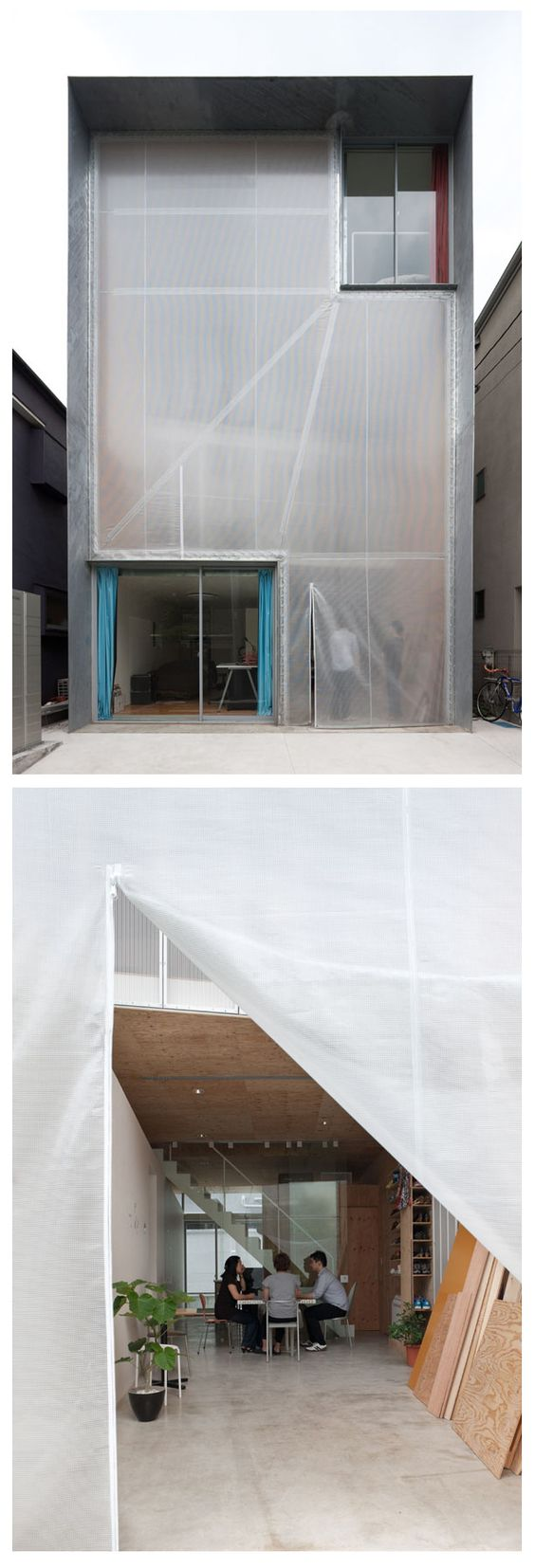 SHAREyaraicho by Satoko Shinohara / Spatial Design Studio + Ayano Uchimura / A studio. The facade of the building is only covered by a translucent plastic sheet. When the fabric is unzipped, passersby may peak in on the residents making furniture for their rooms or enjoying a cup of tea together.