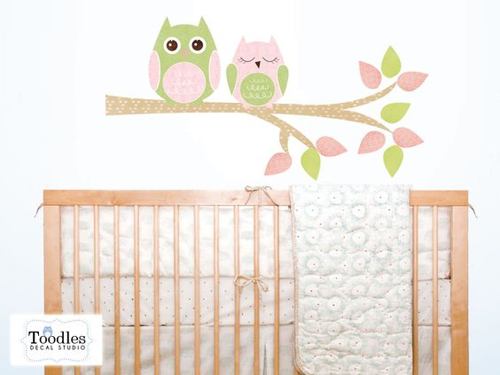 """REPOSITIONABLE, REMOVABLE and completely REUSABLE.    A cute design in peel 'n stick FABRIC decal featuring 2 Owls sitting on a branch.  Decals come as pictured   Dimensions: Image as pictured measures 24"""" high x 36"""" wide."""