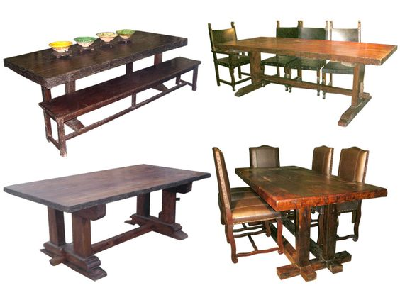 dining tables from www.SanDiegoRustic.com made from old wood beams and architechtural salvage items