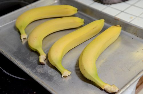 I actually just tried this - Instead of 300 for an hour, I did 350 for 30 minutes.  It was Slick!!!    Quick Tip – How to quickly ripen bananas