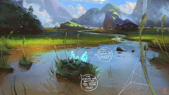 Quiet Hut, Kemane Ba on ArtStation at https://www.artstation.com/artwork/Lx9gR