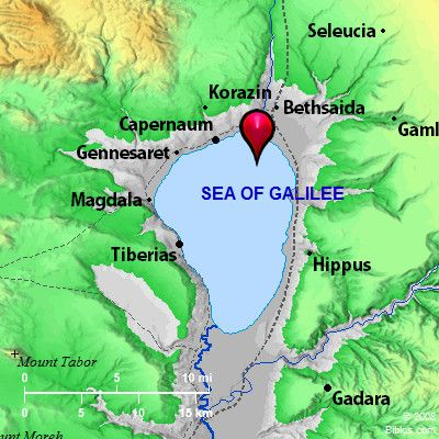 Bible Map: Sea of Galilee  Great info about this lake, great help to understand