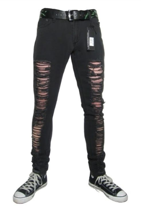 Men's Jeans and Pants. Jogger, Zipper Jeans and Biker jeans. Distressed with a rip at the knee Whiskering & Fading Paint-splatter details Five pocket YKK zip fly styling Skinny tapered leg silhouette View full product details Relaxed Fit Black brushed camouflage Drop Rise Button-through flap side pockets Cropped Leg Cased elastic.