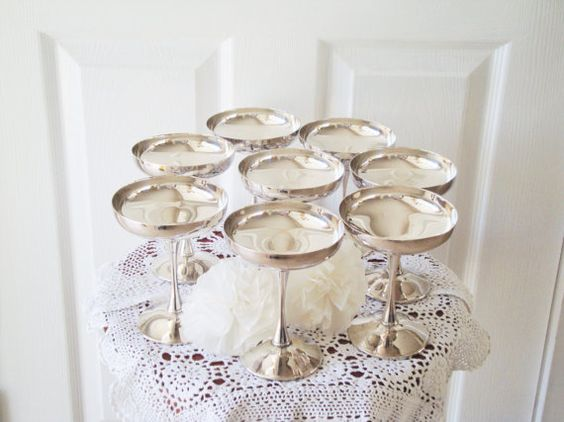 8 Silver Plate Champagne Glasses Wine Glasses by RamblinRanch