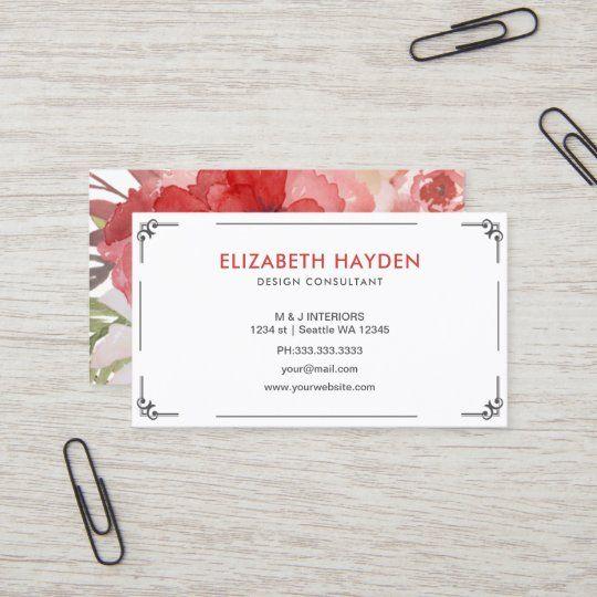Elegant Floral Business Cards Zazzle Com Floral Business Cards Floral Design Business Florist Business Card