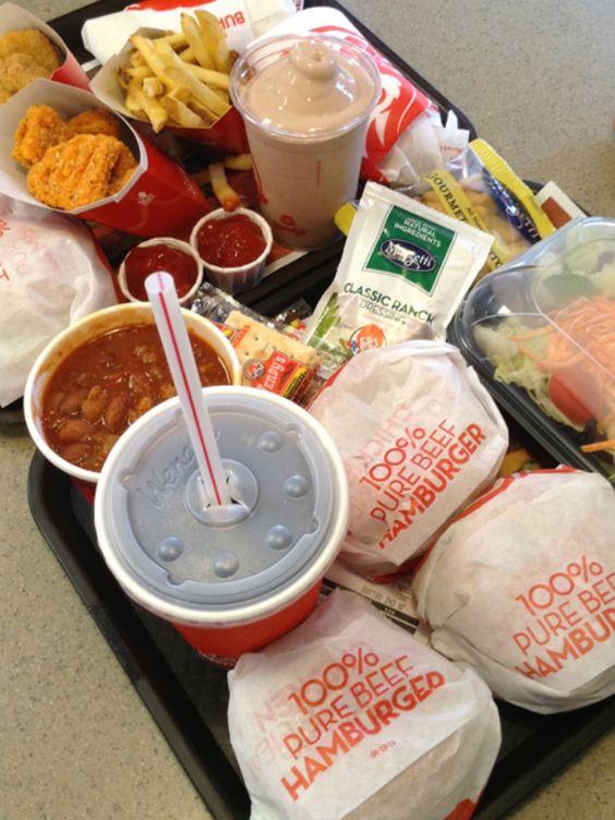 Lg Chili, 2 jr cheeseburgers, Chicken nuggets , Medium Sprite and Medium Choc. Frosty  My favorite: