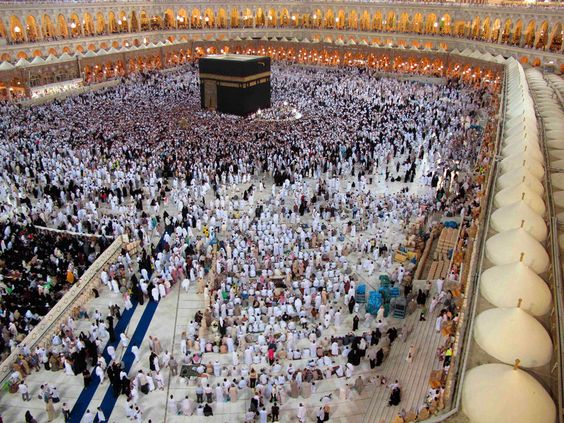 Pilgrims circle the Kaaba inside the Grand Mosque during the Muslim month of Ramadan in the holy city of Mecca on July 23. (Hassan Ali/Reuters)