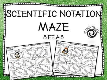 Students are way more engaged and get more practice done with these scientific notation mazes. This activity reviews converting to and from scientific notation.  Supports 8th grade standards: CCSS 8.EE.A.3 and TEKS 8.2C. Includes 3 maze games (converting to scientific notation, converting from scientific notation, and converting to and from scientific notation) and answer keys. This is the perfect addition to any scientific notation unit.