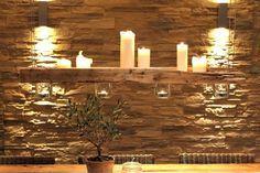 Diese Beleuchtung passt perfekt zur Natursteinwand! Windlichtträger von MANUFAKTUR '73 #homify #Beleuchtung #lighting
