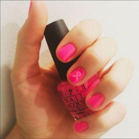 nailart para generar conciencia sobre el cáncer de mamas. #pinkribbon #nailart #opi #uñas #ongles #nailfies