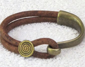 Leather wrap Hook Bracelet, saddle brown leather bracelet,  brass hook, choice of brass accents, soft and braided leather