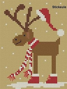 Reindeer freebie  #cross stitch  ...I like this idea done with applique   ...Love the Santa hat on the antlers!