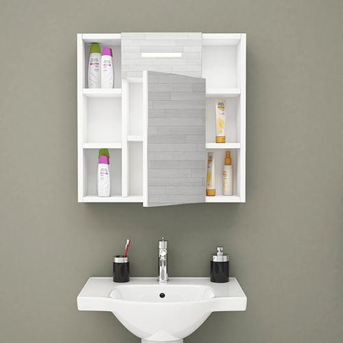 دولاب متعدد الاستخدام موديل سما يجي بمراية وفيه وحدات تخزين جانبية مفتوحة ومغلقه خلف المراية مغطى ب Bathroom Lighting Lighted Bathroom Mirror Bathroom Mirror