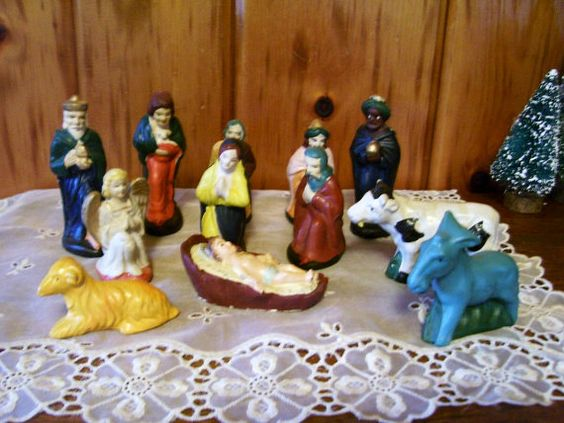Nativity Manger Figurines Baby Jesus Antique by Christmasnotions