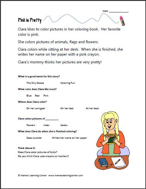 math worksheet : 1000 images about homeschool  language arts literature on  : Reading Comprehension For Kindergarten Worksheets