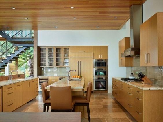wohnküche design holz decke einbauleuchten essplatz