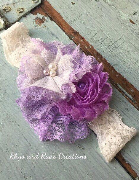 Vintage Lavender Hair Flower Girls by RhysandRaesCreations on Etsy