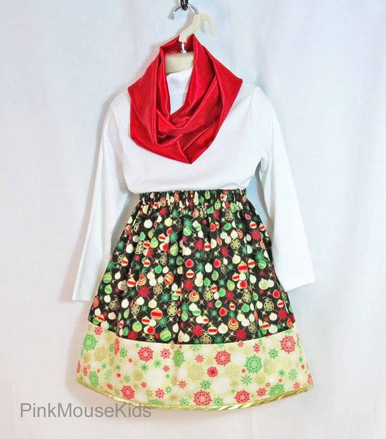 Girls Skirt and Infinity Scarf Set Christmas by PinkMouseKids