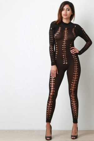 Braided Cut Out Mesh Long Sleeve Jumpsuit