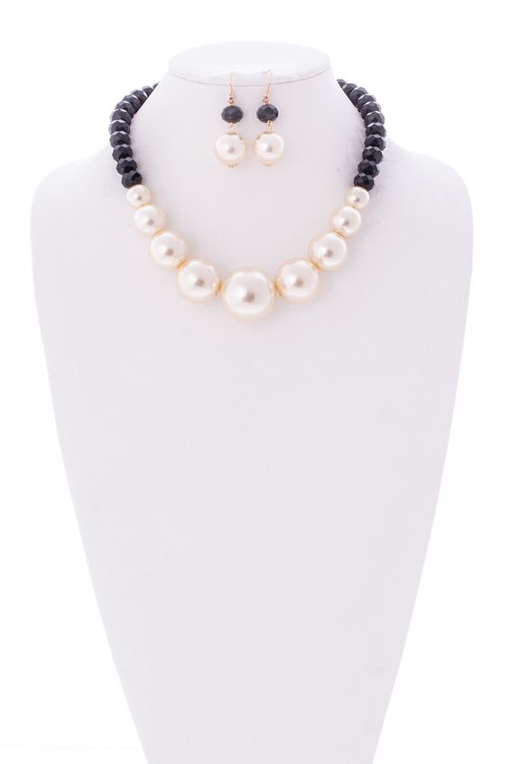 Evelyn Simulated Pearl and Crystal Necklace and Earrings Set Cream