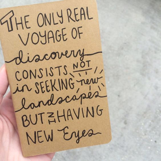 "Voyage Discovery New Eyes Travel Quote by Marcel Proust Hand Drawn Mini Moleskine Cahier Kraft Pocket Journal in Indian Ink (3.5"" X 5.5""):"